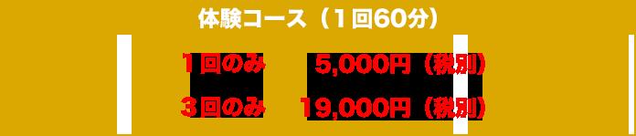 体験コース(1回60分)1回のみ:5,000円(税別) 3回のみ:19,000円(税別)